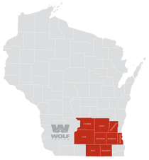 Wolf Service Areas Map: Columbia county, Dodge county, Washington county, Dane county, Milwaukee county, Waukesha county, Rock county, and Walworth county